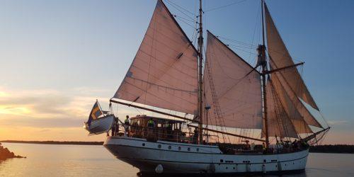 Shamrock seglandes från kaj i Öregrund